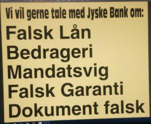 Vi vil gerne tale med jyske bank om det er lovligt at lyve overfor retten om falske aftaler